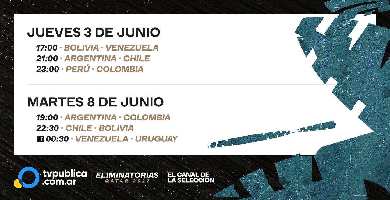 Calendario de Transmisiones. Jueves 3 de Junio en TVP: Bolivia versus Venezuela a las 17:00; Argentina versus Chile a las 21; Perú versus Colombia a las 23:00. Martes 8 de Junio: Argentina versus Colombia alas 19:00; Chile versus Bolivia desde las 22:30; y Venezuela versus Uruguay a las 00:30, cuando ya es miércoles.